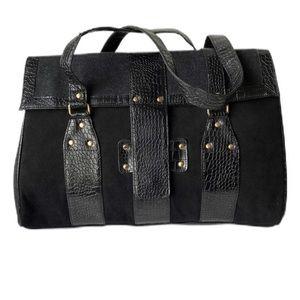 Elizabeth Arden Large Croc Skin Shoulder Bag Black